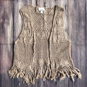 Dress Barn Macrame Crochet Fringe Festival Vest